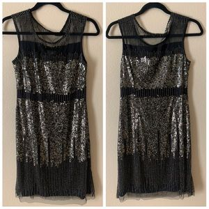 ADRIANNA PAPELL Black Bead & Sequin Dress